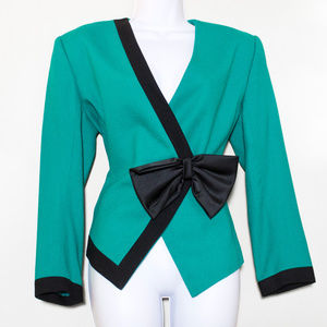 Colorblock Vintage Blazer Wool Jungle Green Bow